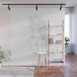 Minimal Line Art Woman with Flowers V Wall Mural
