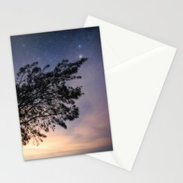 Amazing starry scene. Silhouette of a tree with colorful starry sky. Stationery Cards