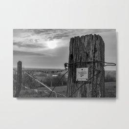 Teutoschleifen Tecklenburger Bergpfad Sign 2 bokeh bw Metal Print