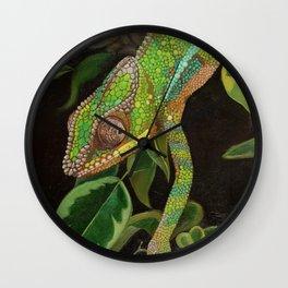 Chameleon portrait oil painting Wall Clock