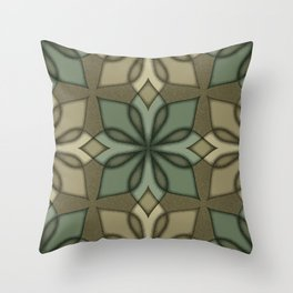 Retro Graphic Floral - Olive Throw Pillow