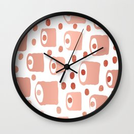 Blips and blobs abstract painting copper metallic with polka dots minimalist painting Wall Clock