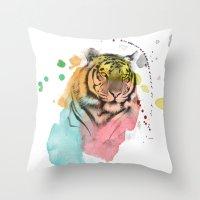 tiger Throw Pillows featuring tiger by mark ashkenazi