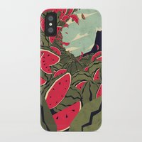 watermelon iPhone & iPod Cases featuring Watermelon surf dream by Yetiland