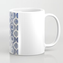Worn & Faded Navy Denim Moroccan Pattern in grey blue & white Coffee Mug
