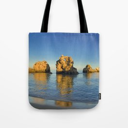 Rock formations near Albufeira, Portugal Tote Bag