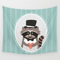 racoon Wall Tapestries featuring Racoon Heart Robber  by Malu Lenzi