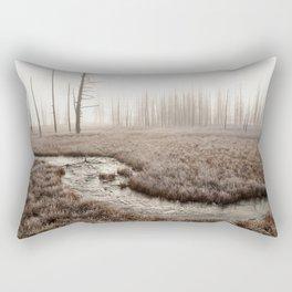 Yellowstone National Park- Foggy morning at Tangled Creek Rectangular Pillow
