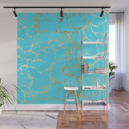 Modern aqua elegant faux gold foil marble pattern Wall Mural