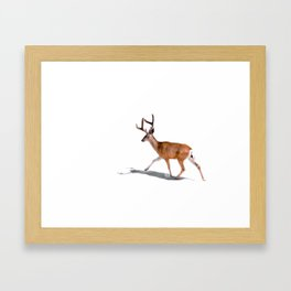 The Buck in Snow (Color) Framed Art Print
