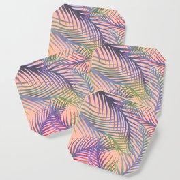 Palm Leaves Pattern - Purple, Peach, Blue Coaster