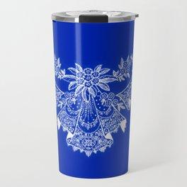 Vintage Lace Hankies Sapphire Blue Travel Mug