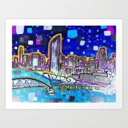Vibrant Brisbane City Painting Art Print