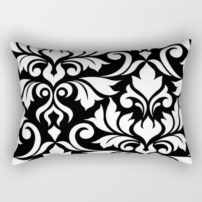 Flourish Damask Art I White on Black Rectangular Pillow