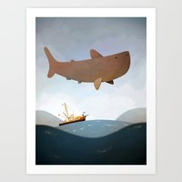 jaws Art Prints featuring Jaws by Reuno