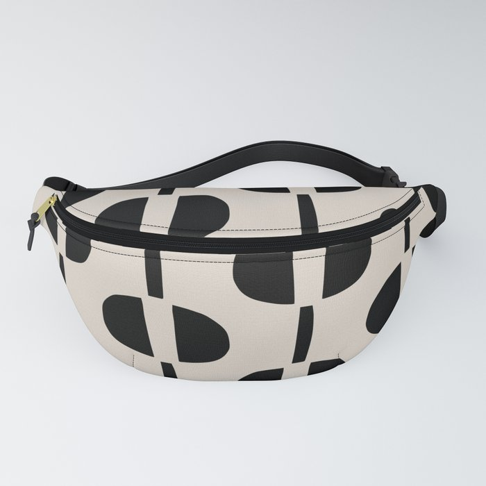 Modernist Geometric Pattern 437 Black and Linen White Fanny Pack