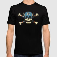 Captain 'Jolly' Rogers  SMALL Black Mens Fitted Tee
