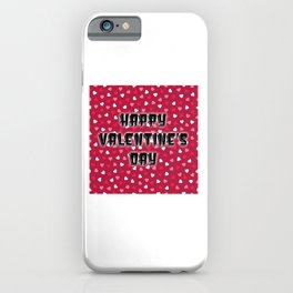 Happy Valentine's Day with Colored Hearts iPhone Case