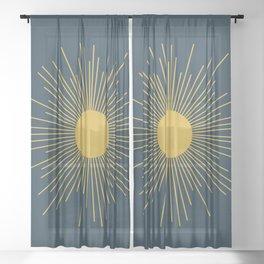 Mid-Century Modern Sunburst II in Light Mustard and Navy Blue Sheer Curtain