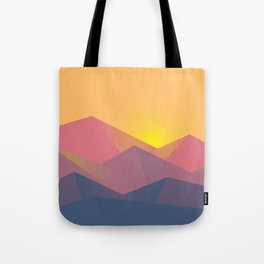 Sunset Mountains Polygons Tote Bag