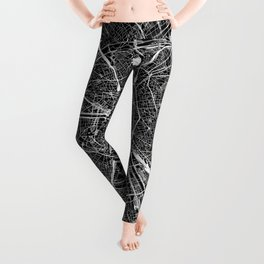 Paris Black Map Leggings