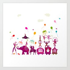 colorful circus carnival traveling in one row on white background Art Print