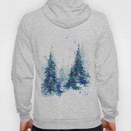 Watercolor winter fir forest Hoody