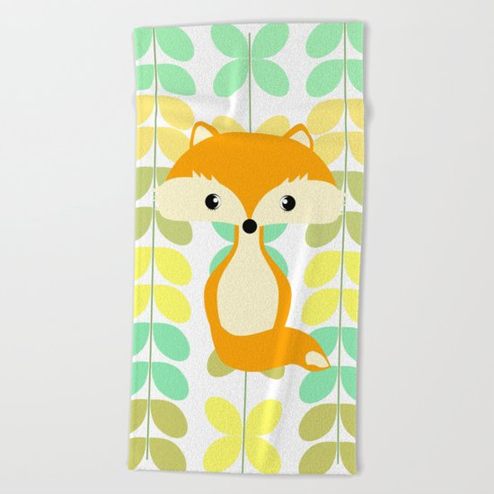 Fox and multicolored leaves Beach Towel