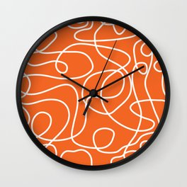 Doodle Line Art | White Lines on Persimmon Orange Wall Clock