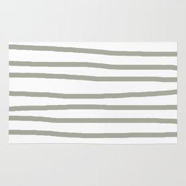 Simply Drawn Stripes Retro Gray on White Rug