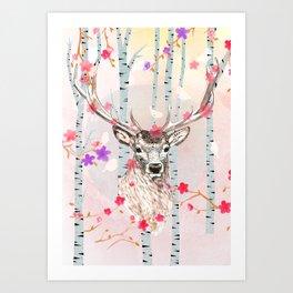Deer in the birch tree forest Art Print