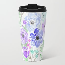 Hand painted lavender lilac blue watercolor flowers Travel Mug