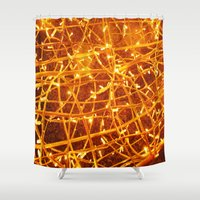 the lights Shower Curtains featuring Lights by Yukska