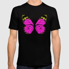 Pink Butterfly MEDIUM Black Mens Fitted Tee