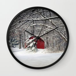 Red Barn in the Snow Wall Clock
