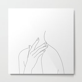 Female body line drawing - Danna Metal Print