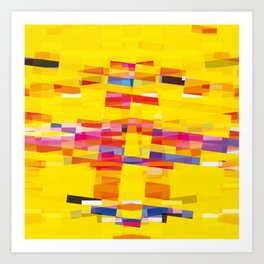 yellow pixel storm Art Print