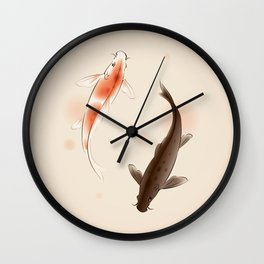 Yin Yang Koi fishes 001 Wall Clock