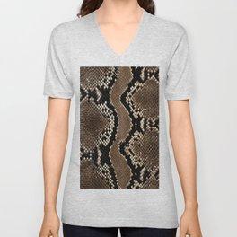 Faux Rock Python Snake Skin Design Unisex V-Neck