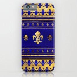Fleur-de-lis  - Lapis Lazuli and Gold iPhone Case
