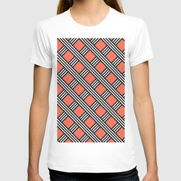 Pantone Living Coral, Black & White Diagonal Stripes Lattice Pattern T-shirt