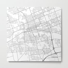 London Map, Canada - Black and White Metal Print