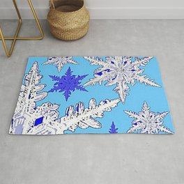 BEAUTIFUL BLUE & WHITE SNOW CRYSTALS  DESIGN Rug