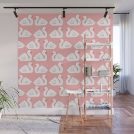 Swan minimal pattern print pink and white bird illustration swans nursery decor Wall Mural