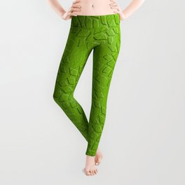 Leather Look Petal Pattern - Greenery Color Leggings