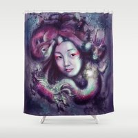 korea Shower Curtains featuring South Korea by Holly Carton