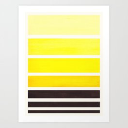 Yellow Minimalist Watercolor Mid Century Staggered Stripes Rothko Color Block Geometric Art Art Print