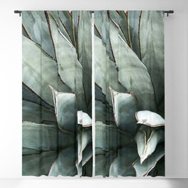 Botanical Succulents // Dusty Blue Green Desert Cactus High Quality Photograph Blackout Curtain