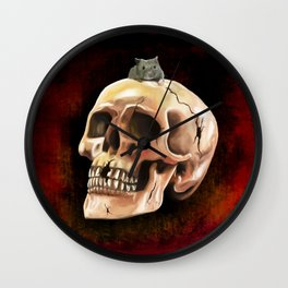 Cracked skull with mouse Wall Clock