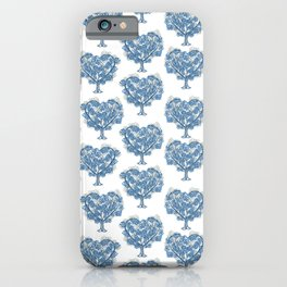 grey and blue tree pattern iPhone Case